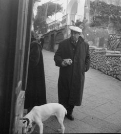 Pablo Neruda bringing the bread for tea time meets a white dog on his way home