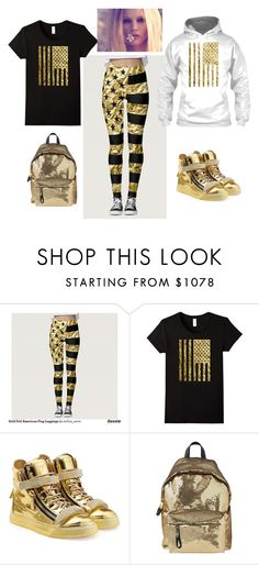 """Gold Foil American Flag"" by pippi-dust ❤ liked on Polyvore featuring Giuseppe Zanotti and Moschino"