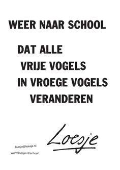 Rake quote voor alle leraren en leerlingen: terug naar school.