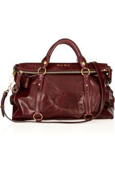 Miu Miu|Bow-embellished glossed-leather tote|NET-A-PORTER.COM