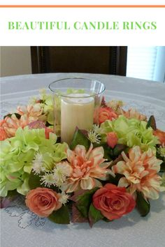 Spring candle rings and spring candle wreath centerpieces on Etsy.