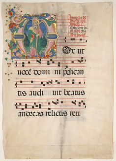 Manuscript leaf from an antiphonary  Master of the Riccardiana Lactantius     Date:      second half 15th century  Geography:      Made in, Florence, Italy  Culture:      Italian  Medium:      Parchment, tempera, ink, gold leaf  Dimensions:      Overall: 22 1/4 x 15 3/4 in. (56.5 x 40 cm) 6 7/16 x 6 9/16 in. (16.4 x 16.6 cm) 29 x 23 1/16 in. (73.6 x 58.5 cm)  Classification:      Manuscripts & Illuminations  Credit Line:      Gift of Louis L. Lorillard, 1896, transferred from the Library