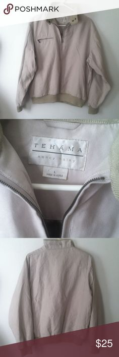 TEHAMA NANCY HALEY GOLF JACKET Casual golf jacket/pullover microfiber suedef, light tan camel , lined, she'll-polyester,, lining-acetate, rib knit-acrylic, pre-owned tehama Nancy Haley Jackets & Coats
