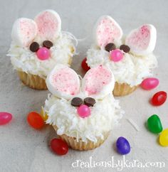 Cute Easter Bunny Cupcakes. Easy and delicious! https://creationsbykara.com #cupcake #recipe #Easter