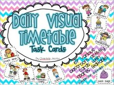 Visual Daily Timetable for Early Years Classroom. Help students keep track of the school day with these daily task cards.