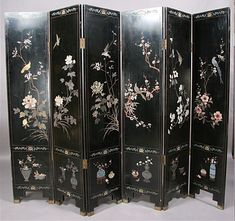 LARGE 6 PANEL CHINOISERIE CHINESE DRESSING SCREEN For Sale ...