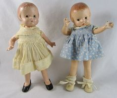 """2 Effanbee Patsyette Dolls 9 1/2"""" Composition Clothes Red Tag"""