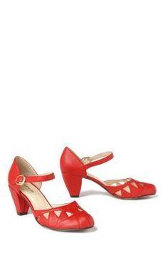 Anthropologie All Black Brand Crimson Red Cutout Mary Jane Heels, 7.5 | eBay