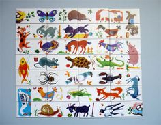 My Vintage Avenue !!! 50's and 60's illustrations !!!: DominoPuzzle des animaux from the 60's edited by Fernand Nathan.