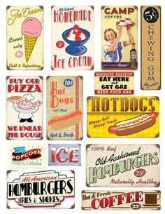Digital Collage Sheet Retro 1950s Signs No 2 by KFcollection, $3.50