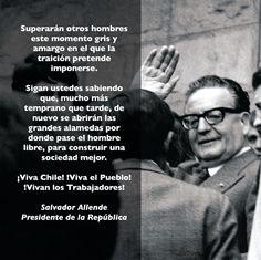 "Salvador ""Compañero"" Allende Political Economy, Political Figures, Victor Jara, Philosophy Memes, Contemporary History, Workers Rights, Social Justice, Sayings, Reading"