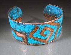 Aztec Secret Etched Copper Cuff Patina Bracelet by studiovdesigns
