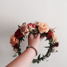 The Marcella Crown // Peach and Burgundy Ranunculus, Spiral Eucalyptus and blush spray roses www.thecrowncollective.co