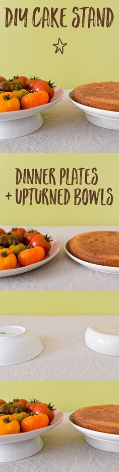 A genius trick to make a DIY cake stand out of ordinary dinner plates and bowls…
