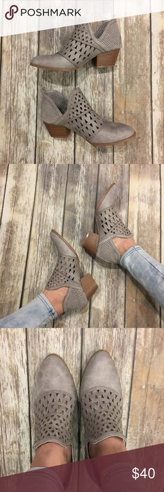 """😍New Arrival😍 Lt Grey cut out boot Light grey cut out boot. 2"""" heel. Suede PU. RUNS BIG size down 1/2 size! Shoes Ankle Boots & Booties"""