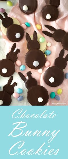 Easter Chocolate Bunny Cookies made with easy ingredients.  Includes a free printable sketch for bunnies | Easter bunny recipes, bunny cookies, Easter cookies, Chocolate Cookies, chocolate bunny recipes, free printables, desserts #desserts #easter #cookies #bunnies #bunny #chocolate