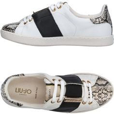 Liu •jo Shoes Low-tops & Sneakers ($160) ❤ liked on Polyvore featuring shoes, sneakers, ivory, low top, python sneakers, animal print shoes, low profile sneakers and animal print flat shoes