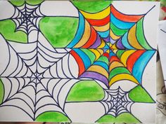 Learn with Play at Home: Spider Web Art for Kids Halloween Art Projects, Theme Halloween, Halloween Arts And Crafts, Fall Art Projects, Craft Projects For Kids, Spider Crafts, Spider Art, Best Watercolor Paper, Spider Pictures