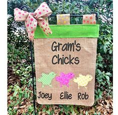 Easter Chick Flag Personalized Easter Decoration Grandma's Chicks Flag Burlap Easter Flag. Easter Burlap Garden flag, Easter chicks flag.. This adorable Burlap flag with cute chicks & Personalized just for you will look beautiful in your yard or garden ! These flags make great gifts too! Made from quality burlap & hemmed on all 4 sides with Easter chick applique. Please choose from customization menu & make note of initial or name you want when ordering. You can choose from several…