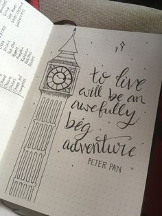 Peter Pan quote bullet journal