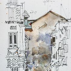 Spaces between buildings. #urbansketchers #urbansketching #sketching | 출처: PaulArtSG