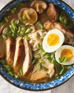 Easy homemade chicken ramen with a flavorful broth roasted chicken fresh veggies lots of noodles and a soft cooked egg. Inspired by traditional Japanese ramen but on the table in under an hour. Soup Recipes, Chicken Recipes, Dinner Recipes, Cooking Recipes, Easy Ramen Recipes, Beef Recipes, Simple Chicken Ramen Recipe, Homemade Ramen Noodle Recipes, Chicken Ramen Bowl Recipe