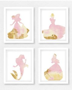 Disney princess nursery Set of 4 Princess pictures Disney