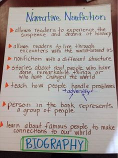 McElhinny's Center Stage: Prepping for Biography Book Clubs--anchor chart to remind students of important elements--great way to reinforce mini-lessons in unit of study!