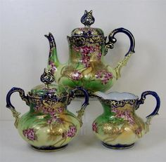 Antique Tea Pot Set Painted Violets