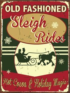 Old-Fashioned-Sleigh-Rides-Metal-Sign-Hot-Cocoa-Holiday-Decor-Christmas-Decor