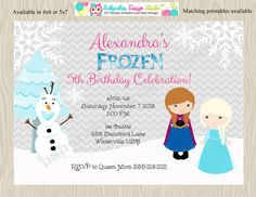Frozen Birthday Party Invitation  Invite Anna Elsa by jcbabycakes