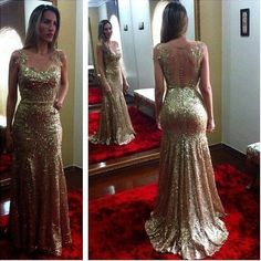 Boat neck sleeveless gold sequins mermaid long party dress,appliqued and beaded prom evening dress