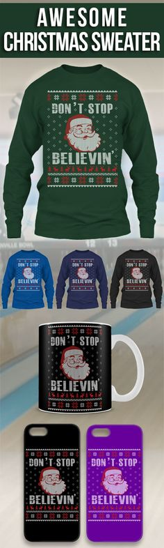 Don't Stop Believin' Ugly Christmas Sweater! Click The Image To Buy It Now or Tag Someone You Want To Buy This For.  #dontstopbelievin