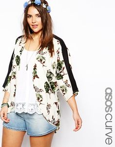ASOS CURVE Exclusive Kimono In Tropical Floral Print