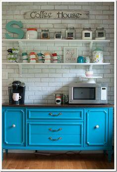turquoise hutch / coffee bar