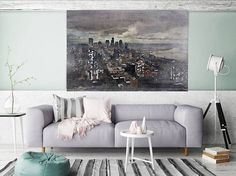 Skyline, Large Architectural Cityscape Canvas Art Print. Rustic Brown URBAN Canvas Art Print up to 72 by Irena Orlov Orlov  Wall Art Decor for Home, Office or Hotel  URBAN ART  With a harder approach and industrial elements, my urban art is ideal for the loft owner or edgy boutique Urban Rustic Painting Print on Canvas – 8 Sizes Available  So striking, this is my Urban Painting – a canvas print of my original artwork. I also give you the option to have the print hand embellished, which is…