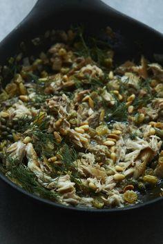 Recipe for pasta with smoked mackerel, Marsala, and pine nuts - The Boston Globe Mackerel Pasta, Smoked Mackerel, Pasta Recipes, Cooking Recipes, Healthy Recipes, Nigella Lawson Recipes Pasta, Marsala Pasta, Mackerel Recipes, Fish And Seafood