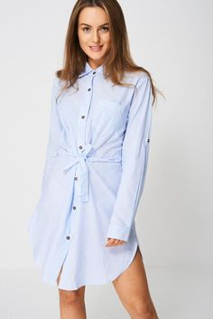 Shirt Dress In Stripes Ex-Branded Shirt Blouses, Shirts, Crepe Fabric, Roll Up Sleeves, Cami Tops, Trendy Outfits, Stripes, Shirt Dress, Clothes For Women