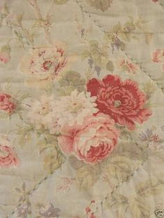Vintage French whole cloth quilt floral Celedon boutis large faded floral