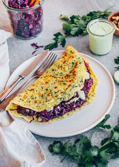 Herb Crepes with red cabbage filling & green sauce - Klara`s Life Cabbage Recipes With Sausage, Sausage Recipes, Braised Cabbage, Roasted Cabbage, Red Cabbage Salad, Easy Casserole Recipes, Healthy Vegetables, Food Inspiration, Gratin