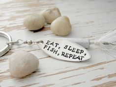 Fishing lure key chain - Eat Sleep Fish Repeat - fisherman gift - funny fish quote - hand stamped - groomsman gift - spinner you pick color