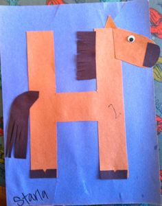 letters, kindergarten, preschool, alphabet craft, h horse craft, alphabet animals, h is for horse