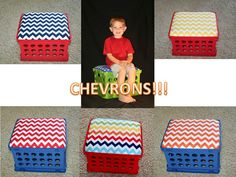 One Storage Crate with Cushioned Seat that is customized with your favorite material.
