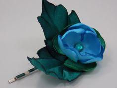 Handmade satin flower hairpin by GinaKittysJewels on Etsy