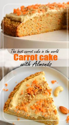 Number of servings: 3 300 g in carrot pulite 250 of sugar 200 of clean almonds 100 g in farina 3 uova Best Carrot Cake, Vanilla Sugar, Easy Cake Recipes, Almonds, Bitter, Banana Bread, Food Processor Recipes, Powder