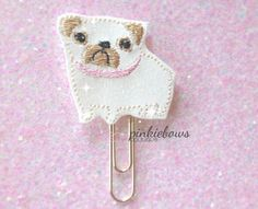 Pug/Dog/Sparkle Applique Paper Clip/Journal Marker/Bookmark by pinkiebows on Etsy