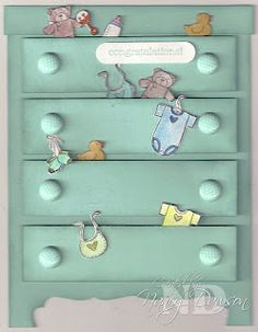 My inspiration came from Carole' Anne Sluchinski's blog for this really great baby card. How cute is that! What a great card for a baby shower. I used the Baby Bundle Stampin' Up stamp set for the contents and Pool Party for the chest. Each drawer and the chest was sponged for shading and the knobs are InColor brads.