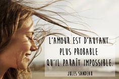 """""""Impossible n'est pas français"""" disait Georges Courteline. De la même manière, quand on s'aime, tout est possible... Du moins, tout le devient... Jolie Phrase, Thats All Folks, Bad Mood, Passion, Movie Posters, Album Photo, Prince, Tatoo, Inspirational Quotes"""