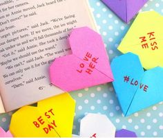 Conversation Heart Origami Corner Bookmarks | These cute bookmarks are the perfect paper hearts to give your love this Valentine's Day!