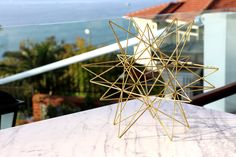 Brass Moravian Star, Brass Himmeli Home Decor, Himmeli Star, Geometric Ornament, Coffee Table Decor, Perfect Home Gift by himmeliartdesign on Etsy https://www.etsy.com/listing/551189144/brass-moravian-star-brass-himmeli-home